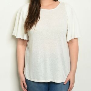 2/$45 NWT White Plus Size Flutter Sleeve  Blouse